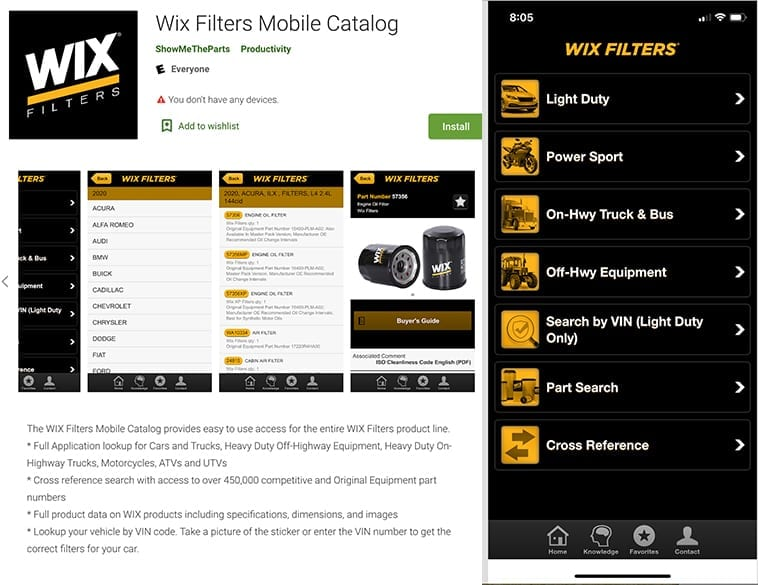 New Mobile Catalogue App for WIX Filters