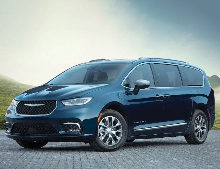 Chrysler pacifica blue parked