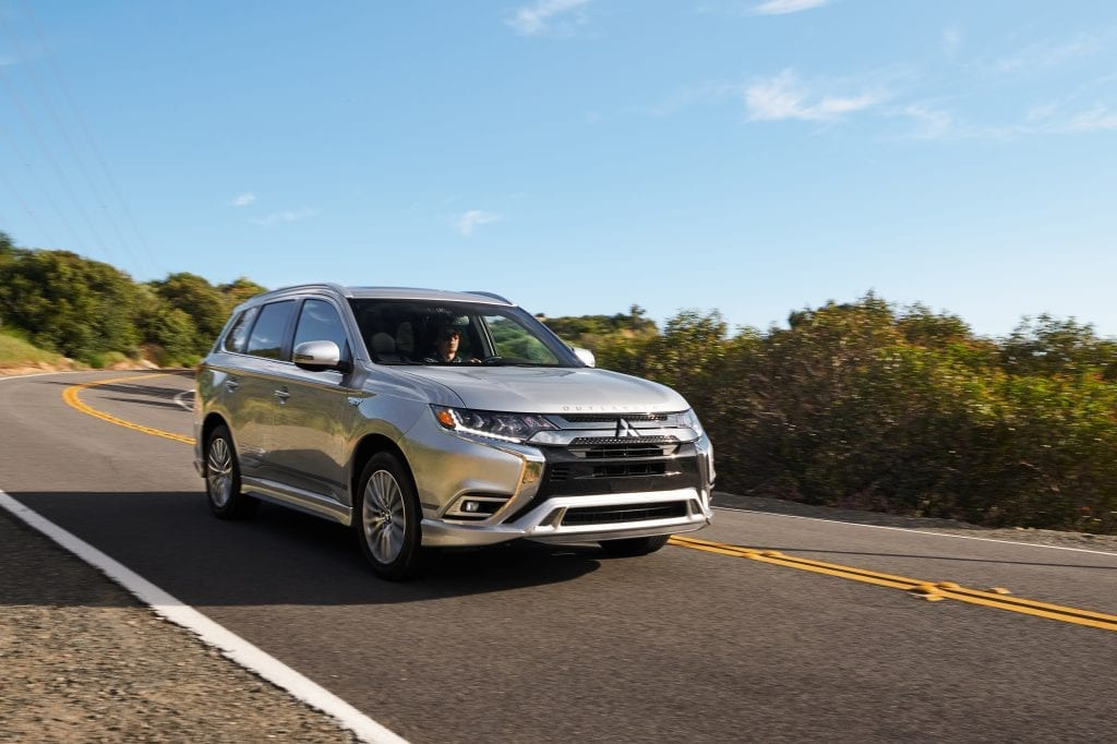2021 mitsubishi outlander PHEV grey driving
